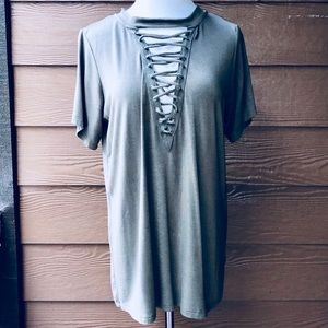 entro Tops - Lace Up Olive Green Top Shirt Blouse Entro Tie